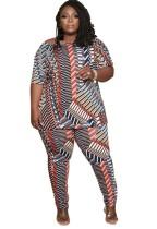 Conjunto de calças e camisa de estampa verão plus size 2PC