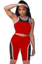Summer Sports Red Patch Weste und Biker Shorts 2PC Matching Set