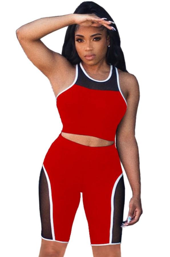 Summer Sports Red Patch chaleco y pantalones cortos de motociclista Juego a juego de 2 piezas