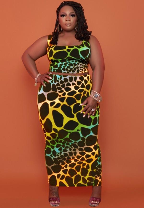 Conjunto de 2 piezas de falda midi y top corto sin mangas de leopardo de talla grande de verano