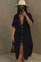 Vestido de blusa larga con abertura de algodón negro casual de verano