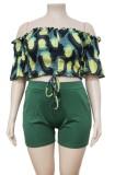 Summer Plus Size Off Shoulder Print Crop Top y Shorts lisos de cintura alta Conjunto de 2 piezas