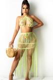 Sujetador de playa de punto verde de verano y falda con flecos 2 piezas de encubrimientos