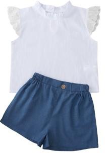 Комплект из двух частей для девочек, летняя рубашка и шорты
