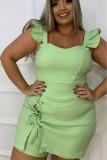 Summer Plus Size Green Strap Top y Falda con cordones Conjunto de 2 piezas