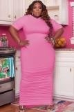 Vestido largo con capucha y fruncido rosa de talla grande de verano