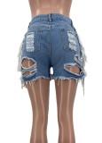 Pantalones cortos de mezclilla con flecos rasgados de cintura alta azul de verano