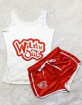 Sommer Sports Print Snack Weste und passende Shorts 2PC Trainingsanzug
