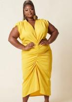 Vestido midi fruncido con cuello en V amarillo formal de verano de talla grande