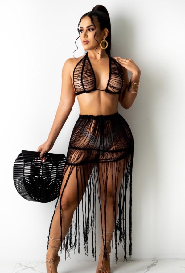 Sujetador de playa de punto negro de verano y falda con flecos 2 piezas de encubrimientos