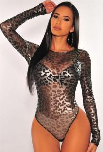 Autumn Print Leopard Sexy See Through Long Sleeve Bodysuit
