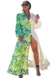 Vestido largo con estampado de otoño blanco y verde con mangas completas