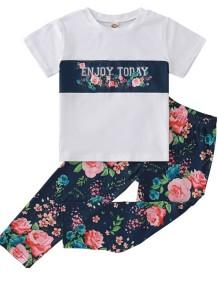 Детский комплект летней рубашки и брюк с принтом из двух частей для девочек