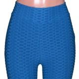 Conjunto de 2 piezas de camisa y pantalón azul estilo gofre casual de verano
