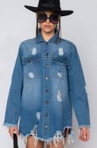 Sonbahar Mavi Kot Yırtık Hasarlı Tam Kollu Uzun Ceket