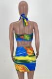 Conjunto de 2 piezas de falda con cordones y top bandeau anudado sexy con estampado de fiesta de verano