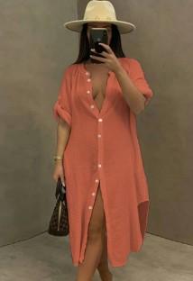 Zomer casual roze katoenen spleet lange blousejurk