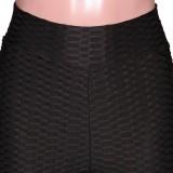 Conjunto de 2 piezas de camisa y pantalones negros de gofres casuales de verano