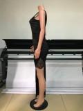 Vestido de noche largo irregular sin mangas con parche negro formal de verano