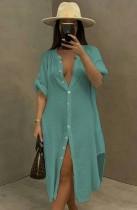 Vestido de blusa larga con abertura de algodón azul casual de verano