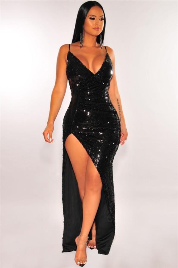Vestido de noche con hendidura de correa de lentejuelas negras formales de verano
