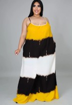Maxi abito lungo con cinturino color block casual estivo taglie forti