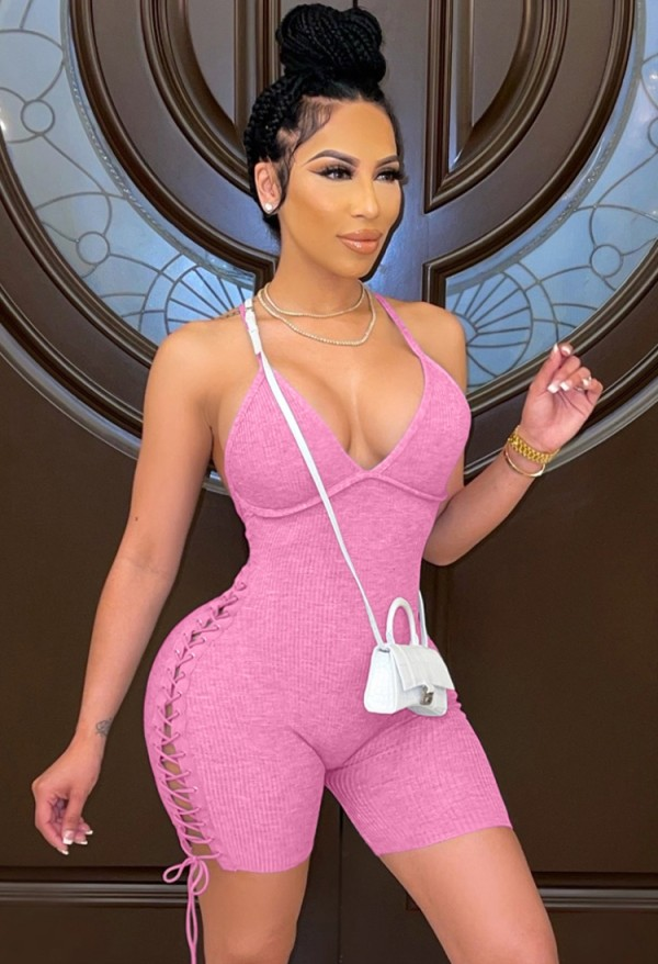 Summer Pink Sexy Lace Up Ribbed Strap Bodycon Rompers