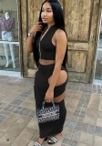 Summer Sexy Black Zipper Crop Top y Falda lápiz ahuecada 2PC Set