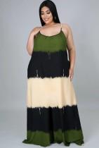 Sommer Plus Size Casual Color Block Strap Langes Maxikleid