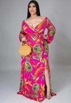 Autumn Plus Size Print Long Sleeve Wrap Long Maxi Dress
