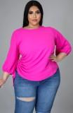Camisa de verano con cordones laterales en rosa de talla grande