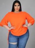 Summer Plus Size Camisa naranja con cordones laterales