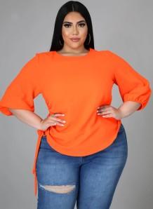 Camicia estiva con stringhe laterali arancioni taglie forti