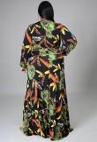 Vestido largo de manga larga con estampado de tallas grandes de otoño