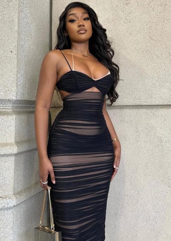 Vestido midi acanalado con tirantes sexy negro de verano