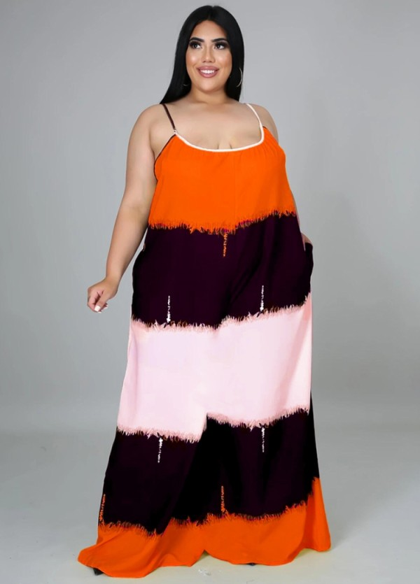 Vestido largo largo con correa en bloque de color casual de verano de talla grande