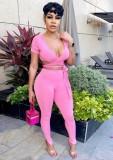 Summer Pink Ribbed Wrap Crop Top y Pantalones 2 piezas Set