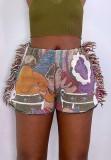 Pantalones cortos de borlas con estampado casual de otoño