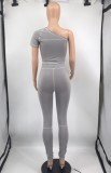 Summer Party Sexy Grey Un hombro Top y pantalones 2PC Set