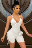 Summer White Sexy Lace Up Ribbed Strap Bodycon Rompers