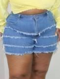 Pantalones cortos de mezclilla con borlas azules de verano de talla grande