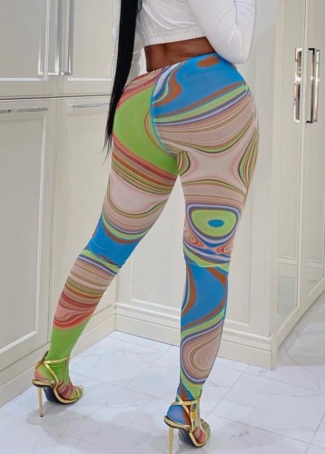 Leggings de cintura alta sexy multicolor de verano