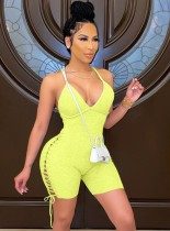Summer Yellow Sexy Lace Up Ribbed Strap Bodycon Rompers