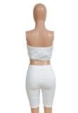 Summer Party White Print Irregular Rube Top y Shorts de motociclista lisos Conjunto de 2 piezas