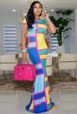 Vestido largo largo de manga corta con bloque de color de verano
