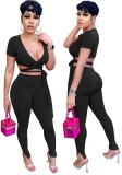 Summer Black Ribbed Wrap Crop Top and Pants Conjunto de 2 piezas
