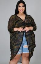 Blusa larga irregular de camuflaje de verano talla grande