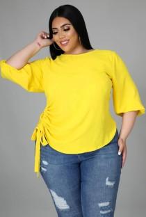 Camicia estiva con stringhe laterali gialle taglie forti