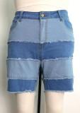 Pantalones cortos de mezclilla con borlas de parche azul de talla grande de verano