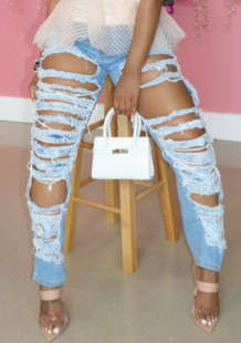 Jeans de cintura alta dañados con corte azul de verano